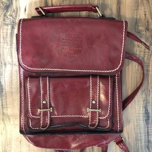 Vintage Red Leather Mini Backpack Purse